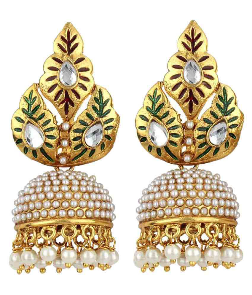 Jewels Guru Exclusive Golden Jhumki Earrings