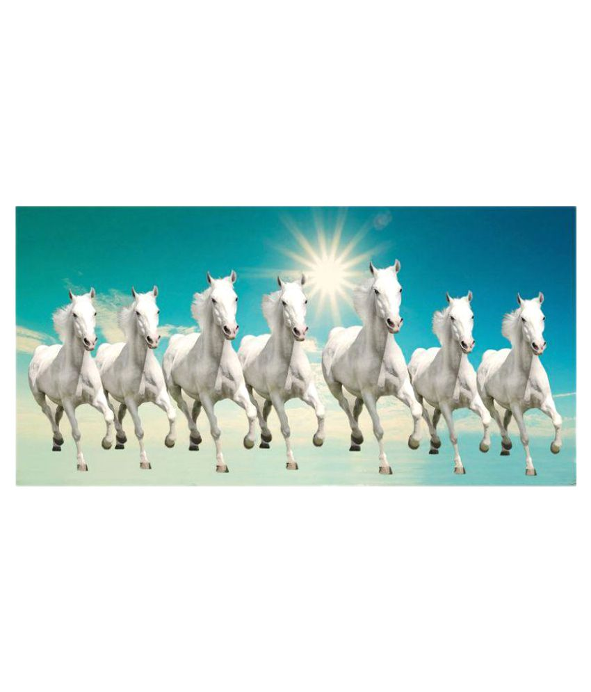Elegance 7 Running Horses Canvas Painting Without Frame ... 7 White Horses Running Painting