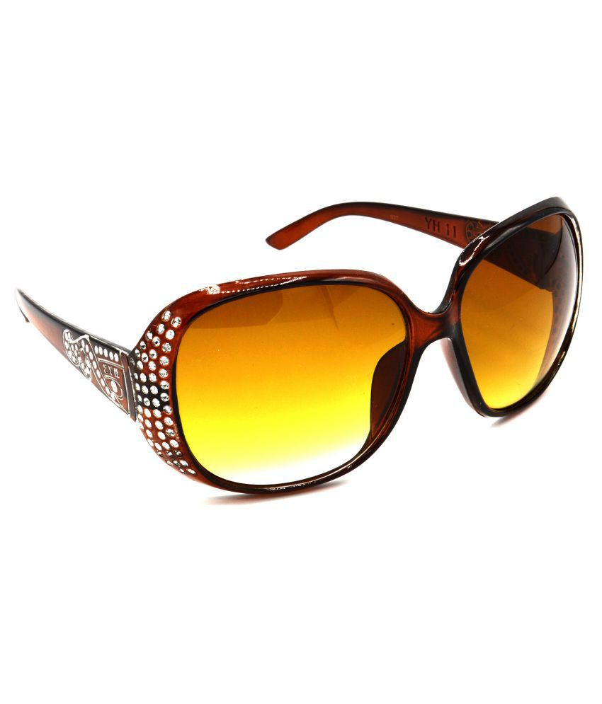 Hrinkar Brown Oval Sunglasses ( HRS327-BK-GRP )
