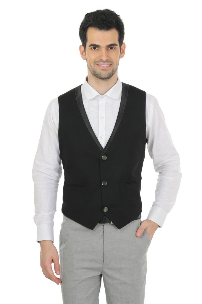 Zido Black Self Design Party Waistcoats