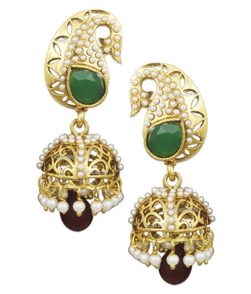 Karatcart 24K Gold Plated Traditional Jhumkis