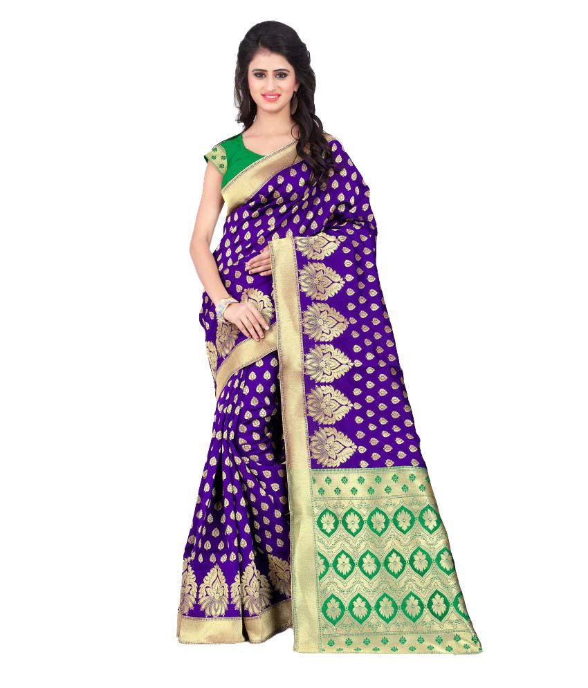 Sargam Fashion Purple Banarasi Silk Saree