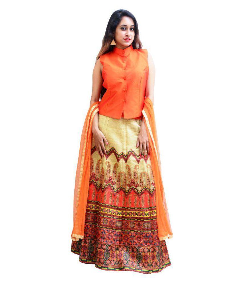 Charu Boutique Orange Silk Straight Stitched Suit