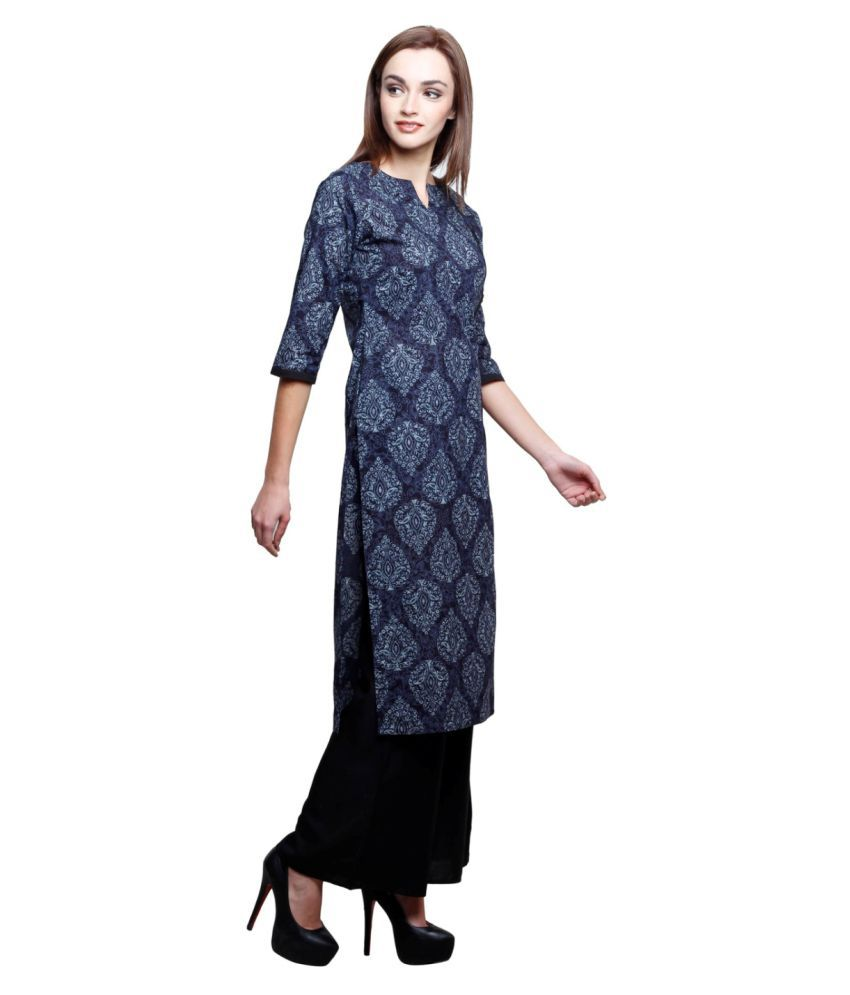 b5c45c7b1 Jaipur Attire Blue Cotton Straight Kurti available at SnapDeal for Rs.626