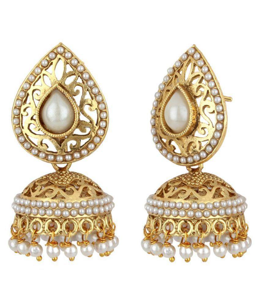Jewels Guru Exclusive White Golden Earring Set.