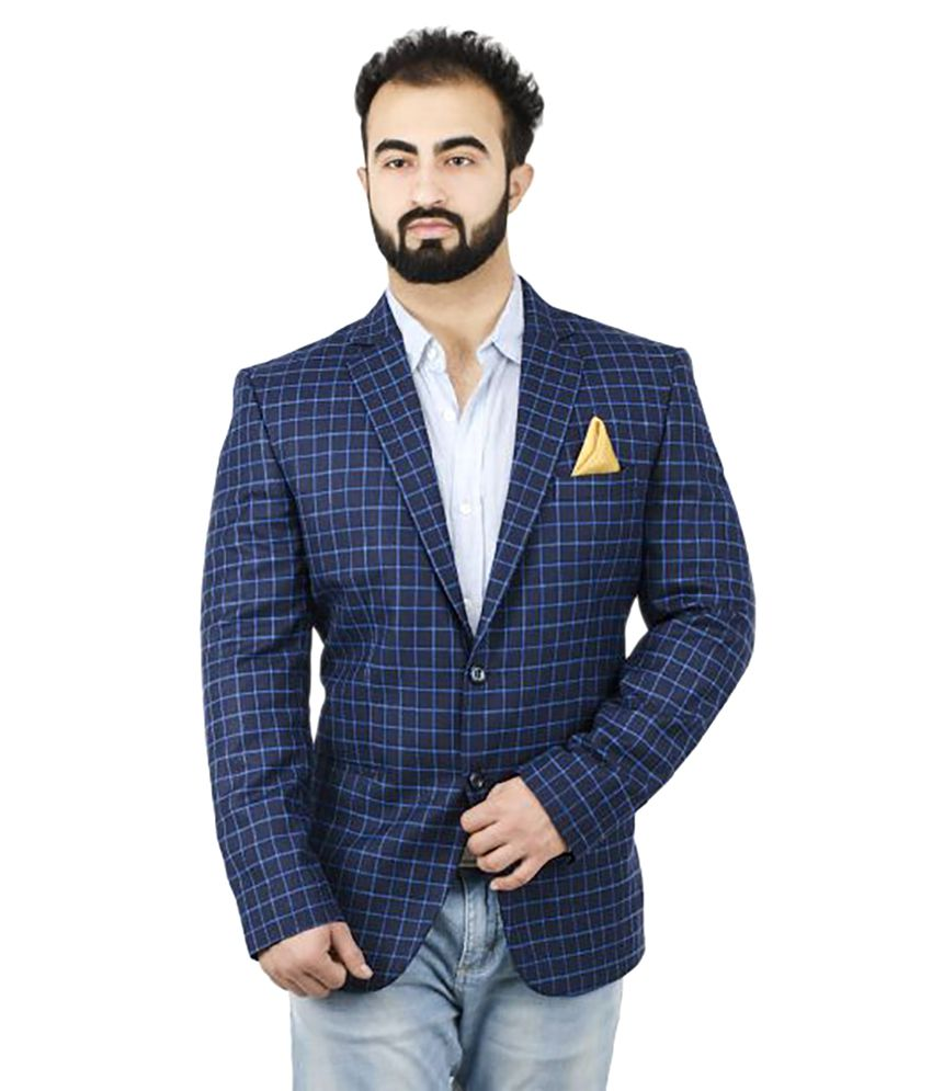 Lorenzini Designs Blue Checks Casual Blazers