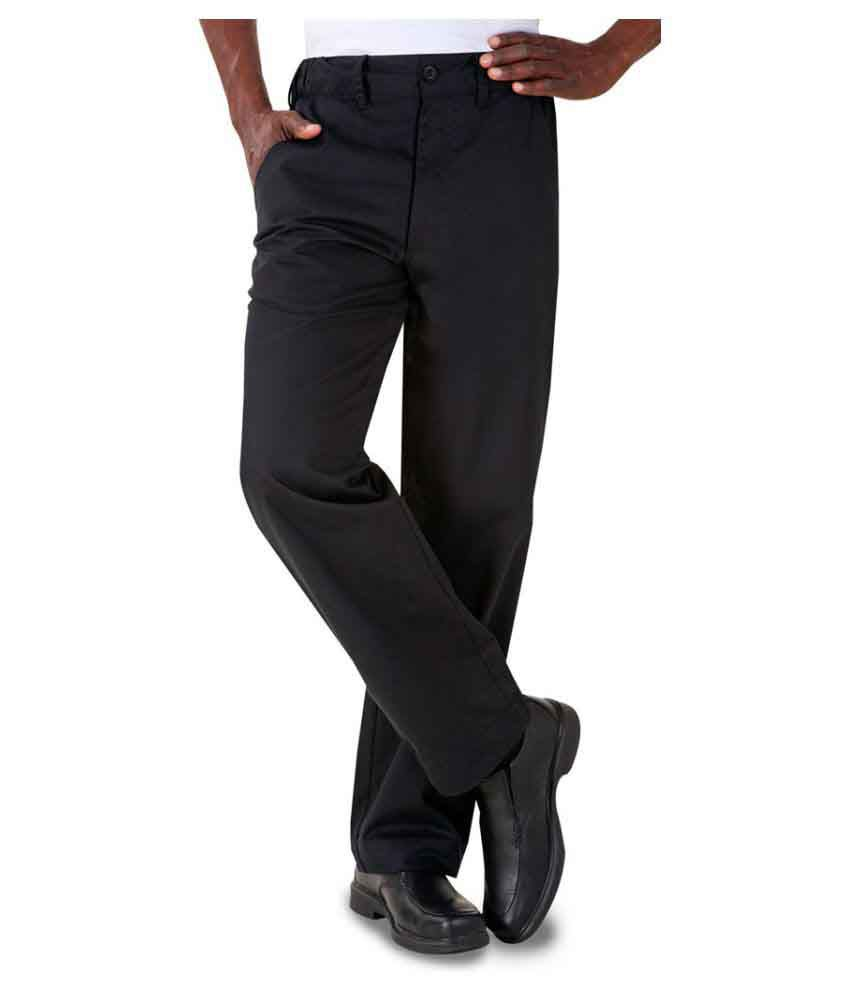 Superb Uniforms Black Regular Flat Trousers