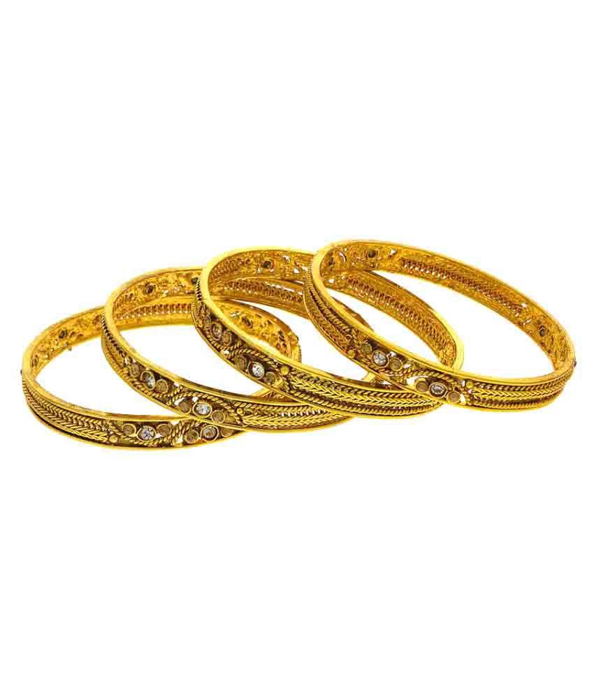 Anuradha Art Golden Bangles Set For Women