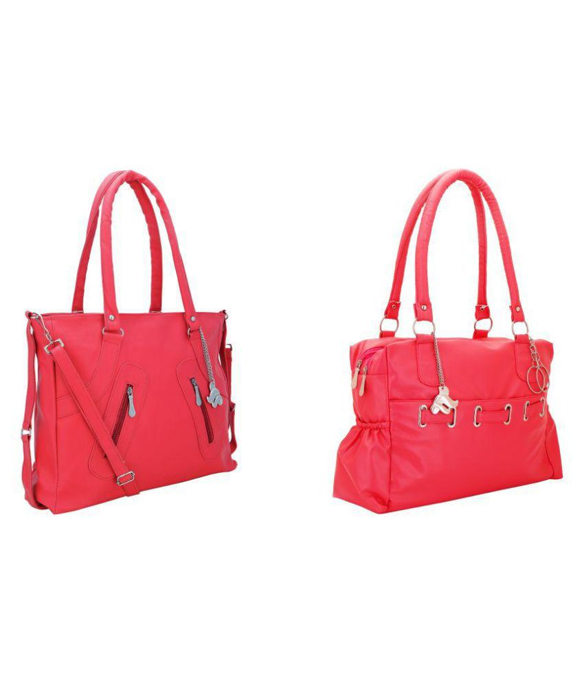 Lady Bar Pink Artificial Leather Shoulder Bag