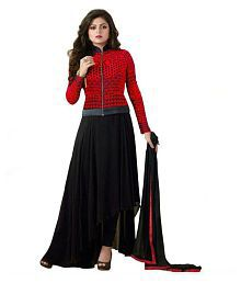 R J FEBRIC Black Georgette Anarkali Semi-Stitched Suit