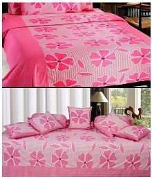 Zircone Double Cotton Multicolor Bed Sheet With  Diwan Set Pack Of 8