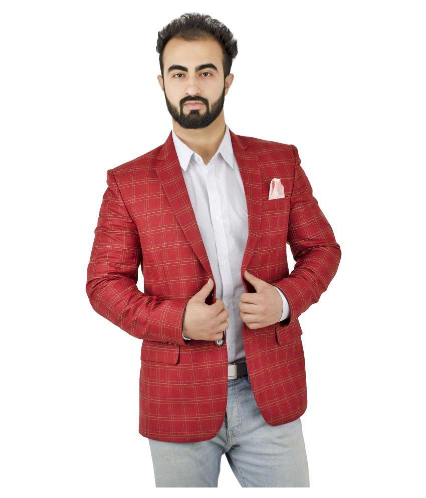 Lorenzini Designs Red Checks Casual Blazers