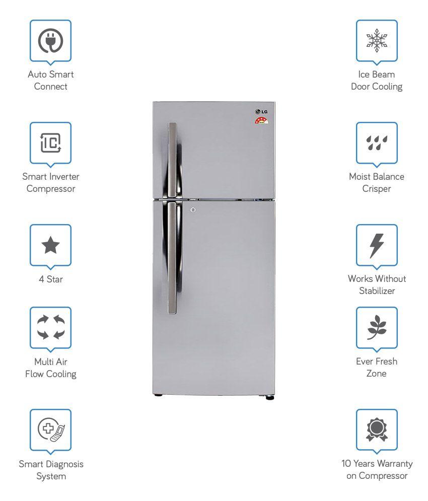 LG 260 Ltr 4 Star GL-I292RPZL Double Door Refrigerator - Shiny Steel