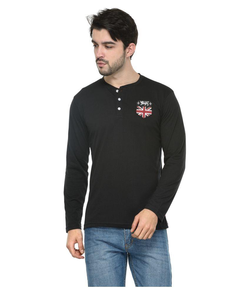 Teesort Black Henley T-Shirt