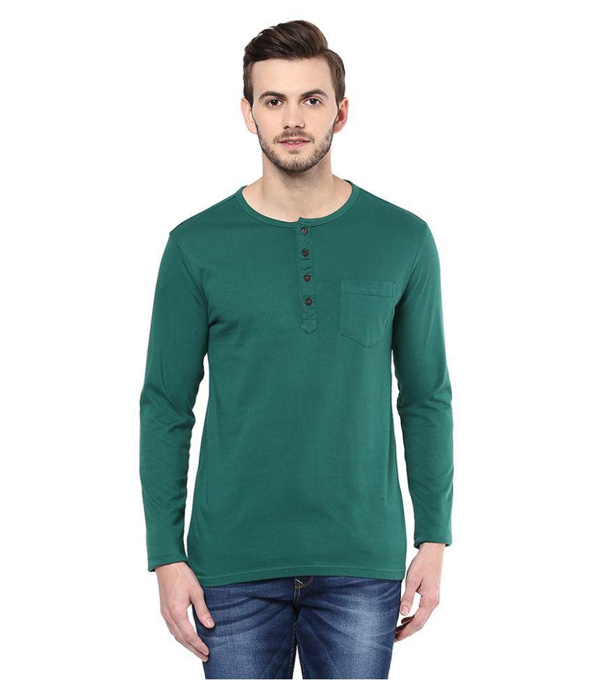 Urban Eagle By Pantaloons Green Henley T-Shirt