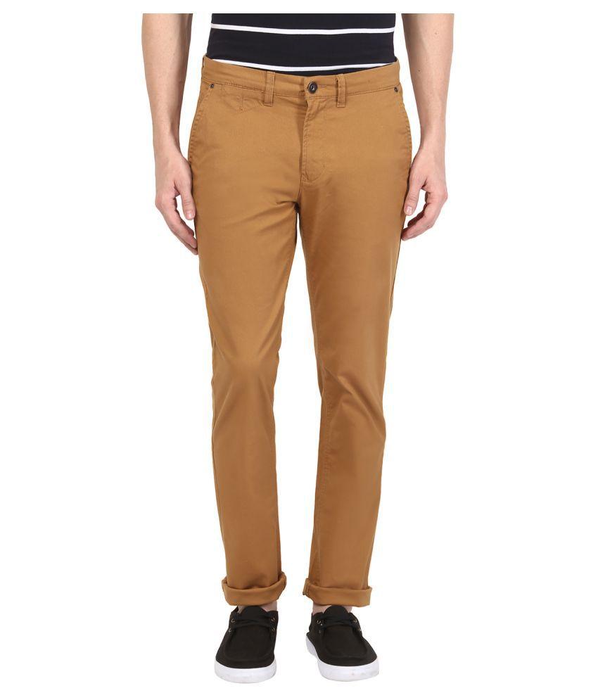 Urban Eagle by Pantaloons Brown Regular Flat Trousers