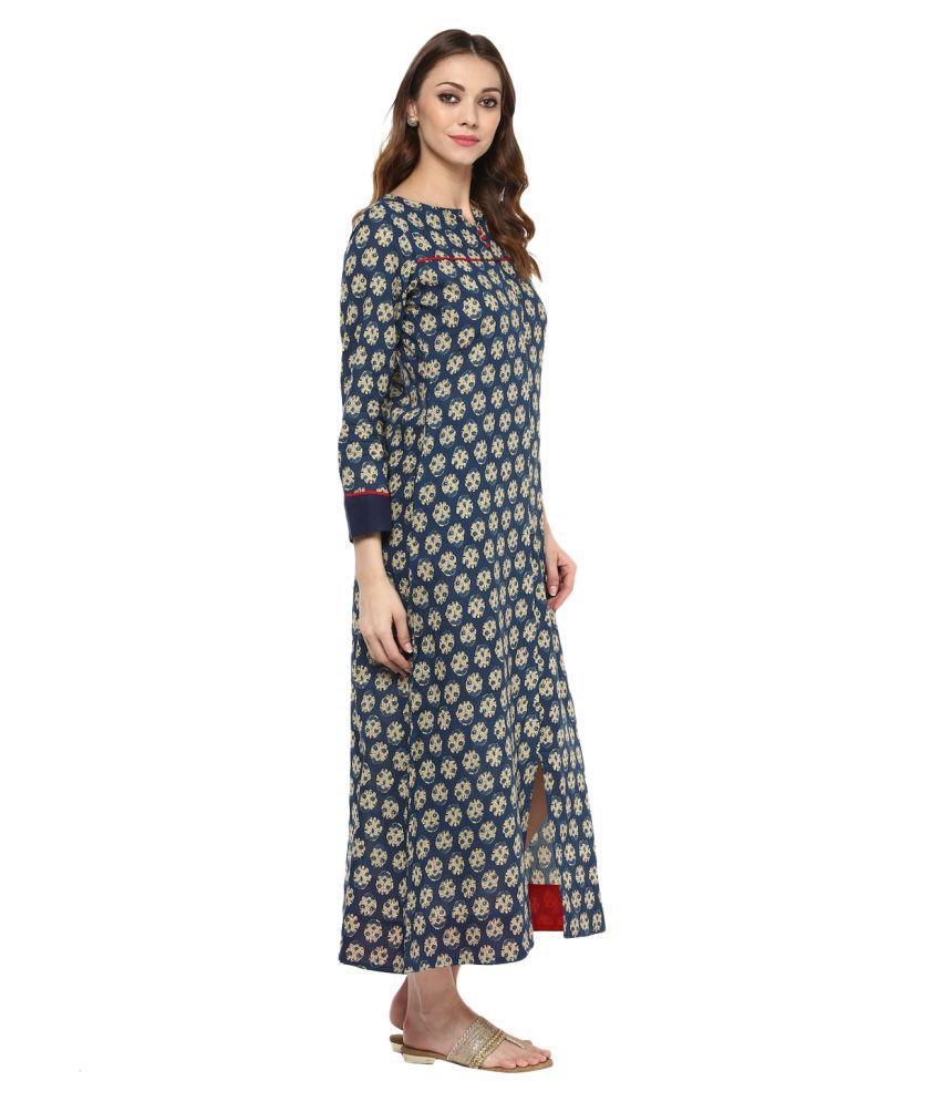 9dd943494 Jaipur Kurti Cotton Blue A- line Dress - Buy Jaipur Kurti Cotton ...
