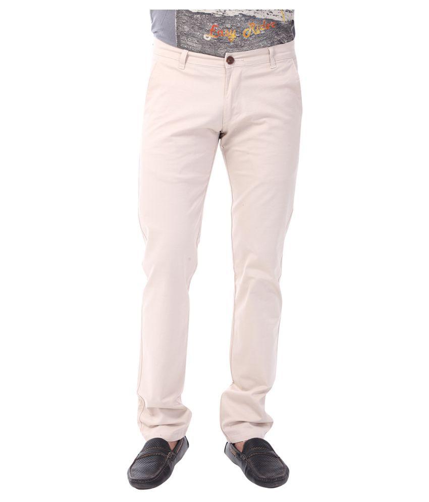 Klub Fox Off White Slim Flat Trousers