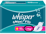 Whisper Maxi Fit Sanitary Pads L Wings 15 pc Pack