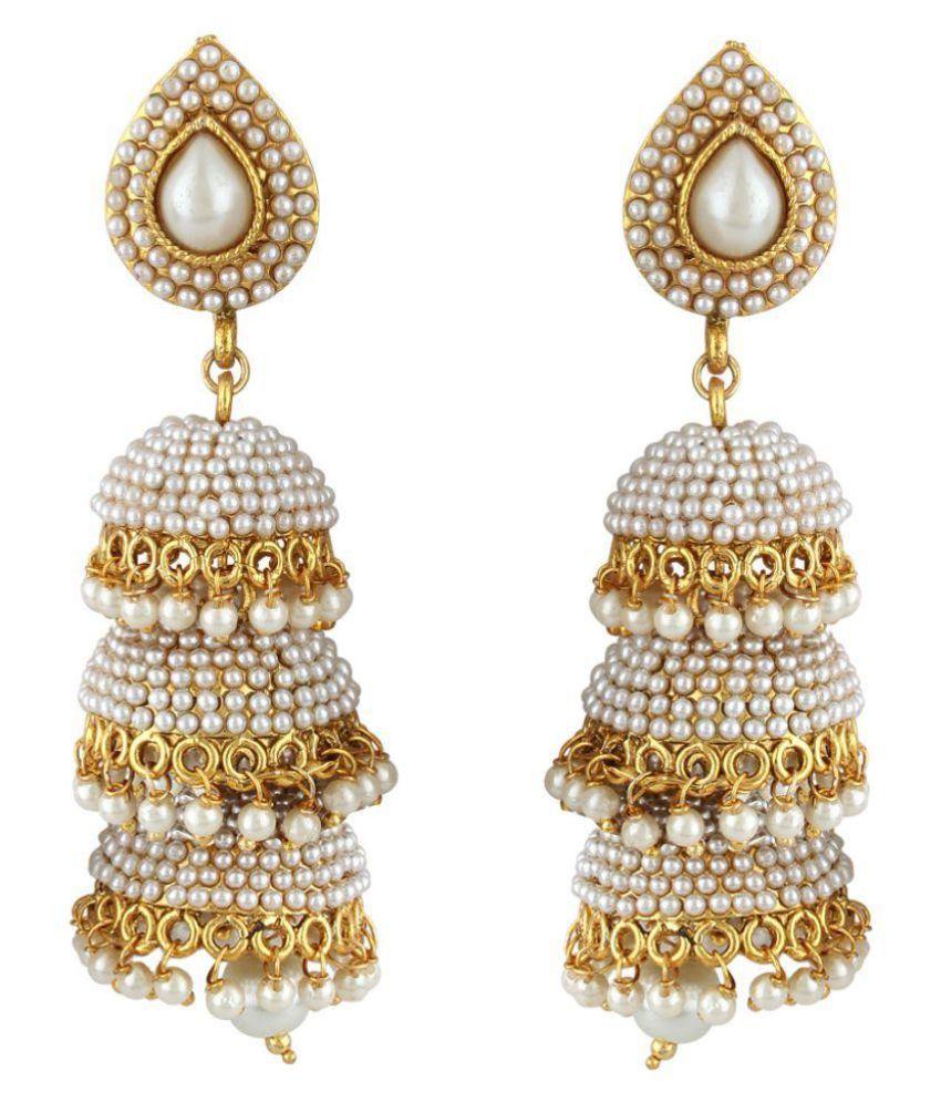 Jewels Guru White Jhumkis