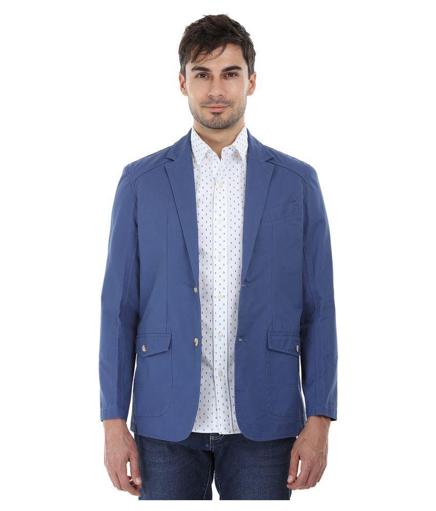 Zobello Blue Solid Casual Blazers
