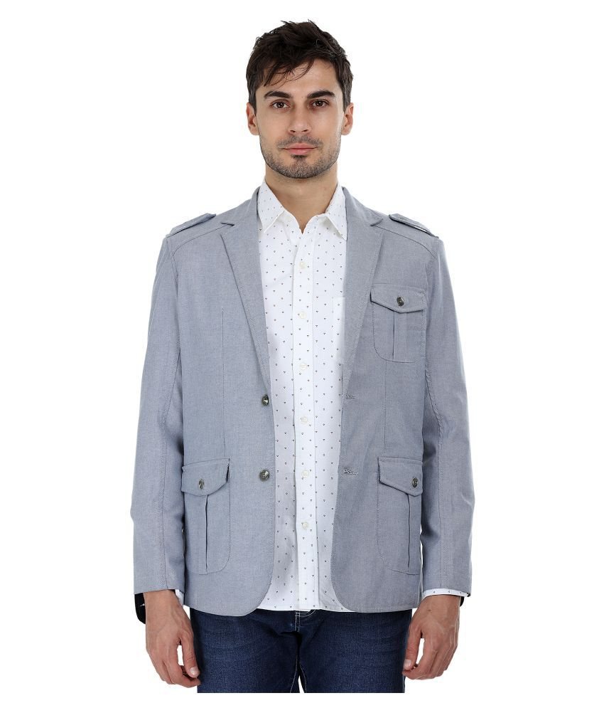 Zobello Grey Solid Casual Blazers