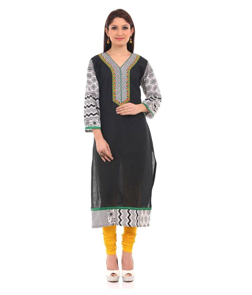 Chhabra 555 Black Cotton Straight Kurti