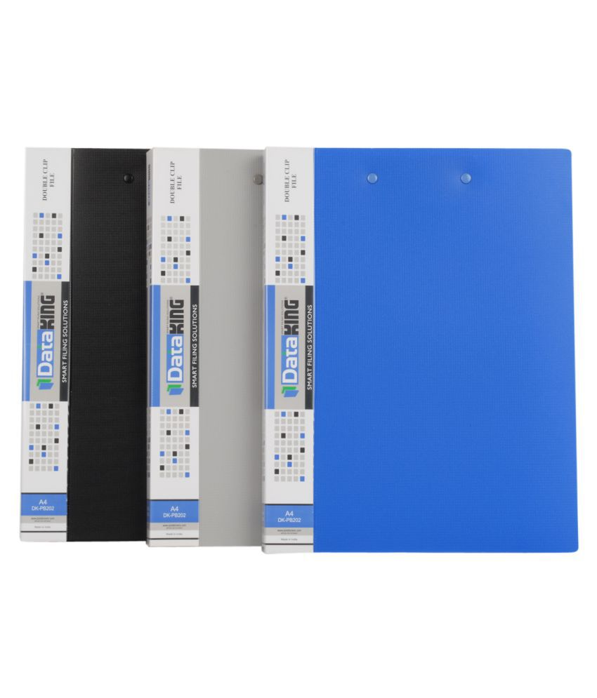 DataKing DOUBLE CLIP FILE (PUNCHLESS LONG + BOARD CLIP), Set Of 3,  Size: A4, Color: Multi.