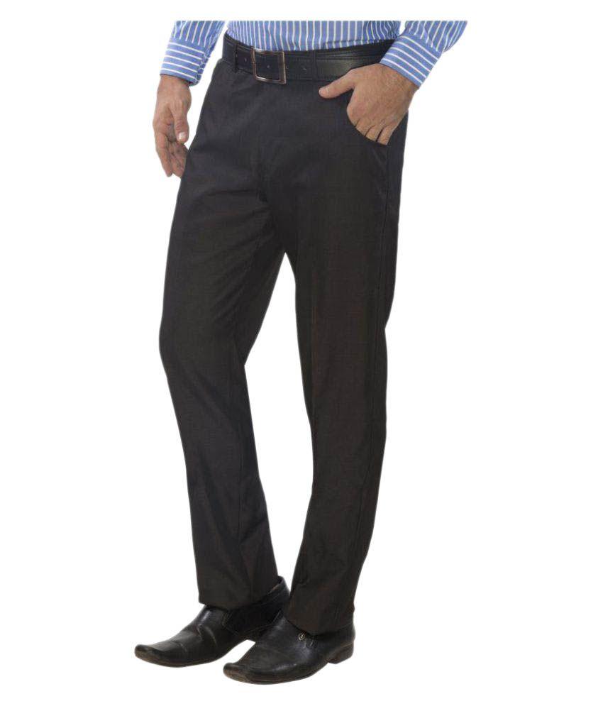 Studio Nyx Dark Brown Regular Flat Trousers