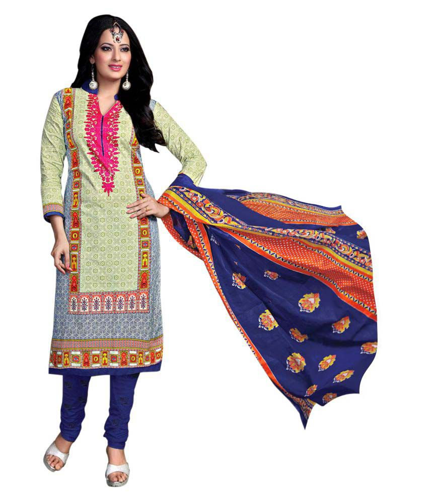 DAX Collections Multicoloured Cotton Dress Material