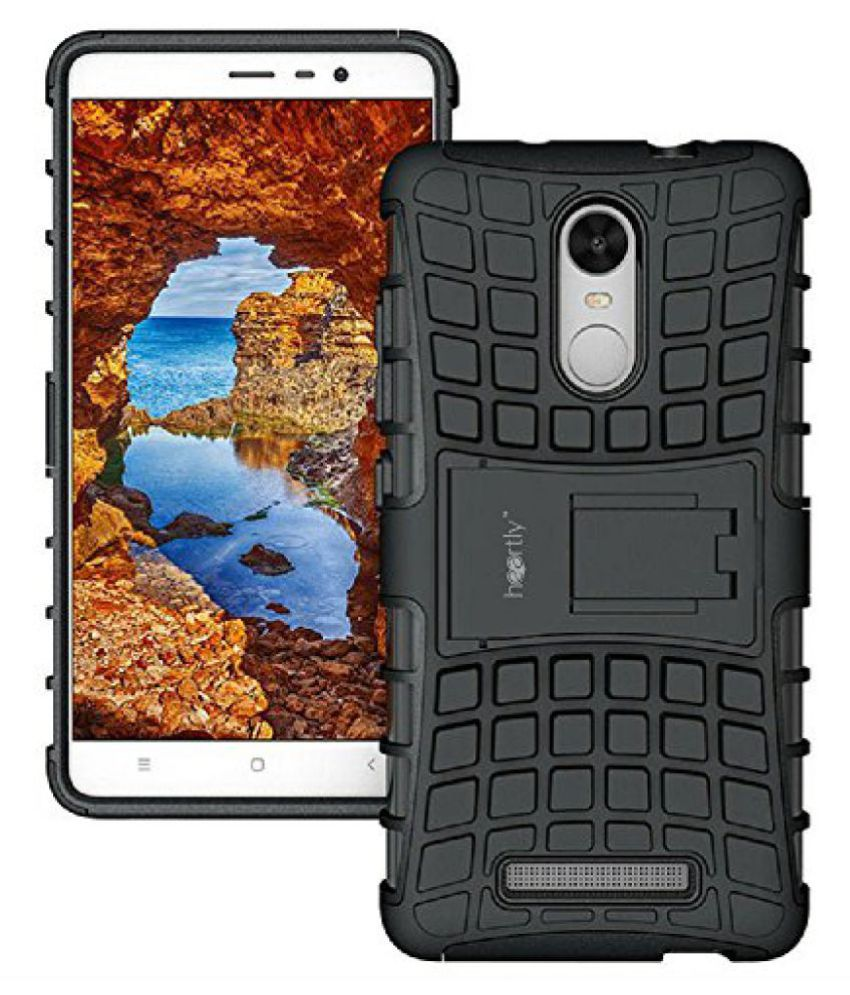 Heartly Flip Kick Stand Spider Hard Dual Rugged Armor Hybrid Bumper Back Case Cover For Xiaomi Redmi Note 3 - Rugged Black