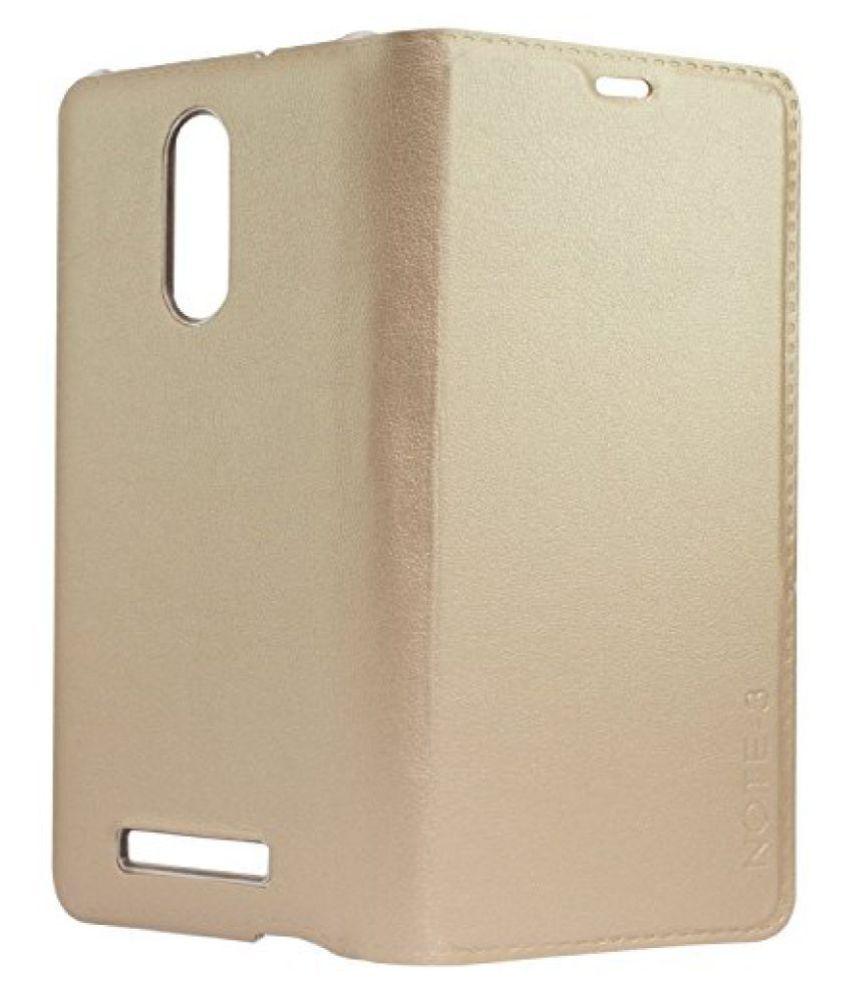 SDO&trade LFxrn3Gold Designer Textured Leather Finish Genuine Flip Cover for Xiaomi Redmi Note 3 - Gold