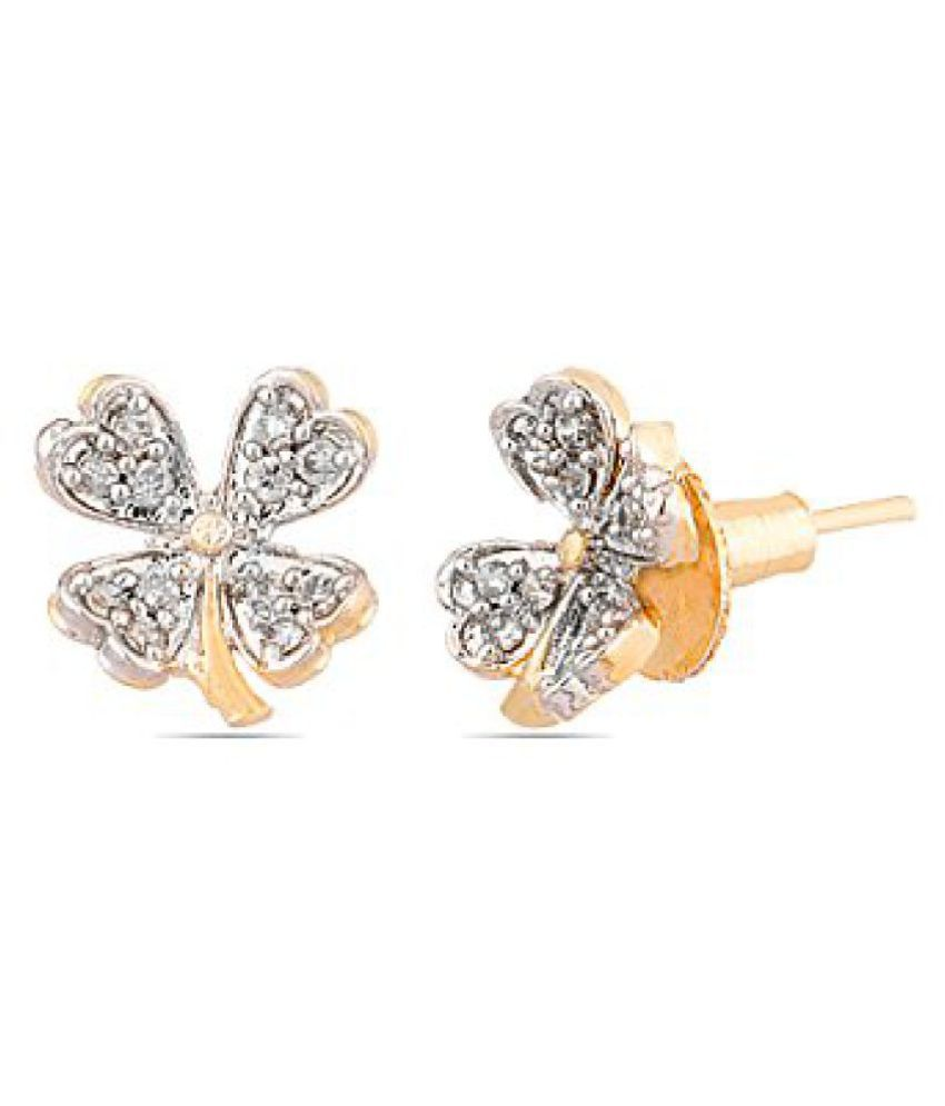 Voylla Alluring Yellow Gold Toned Floral Pair Of Earrings