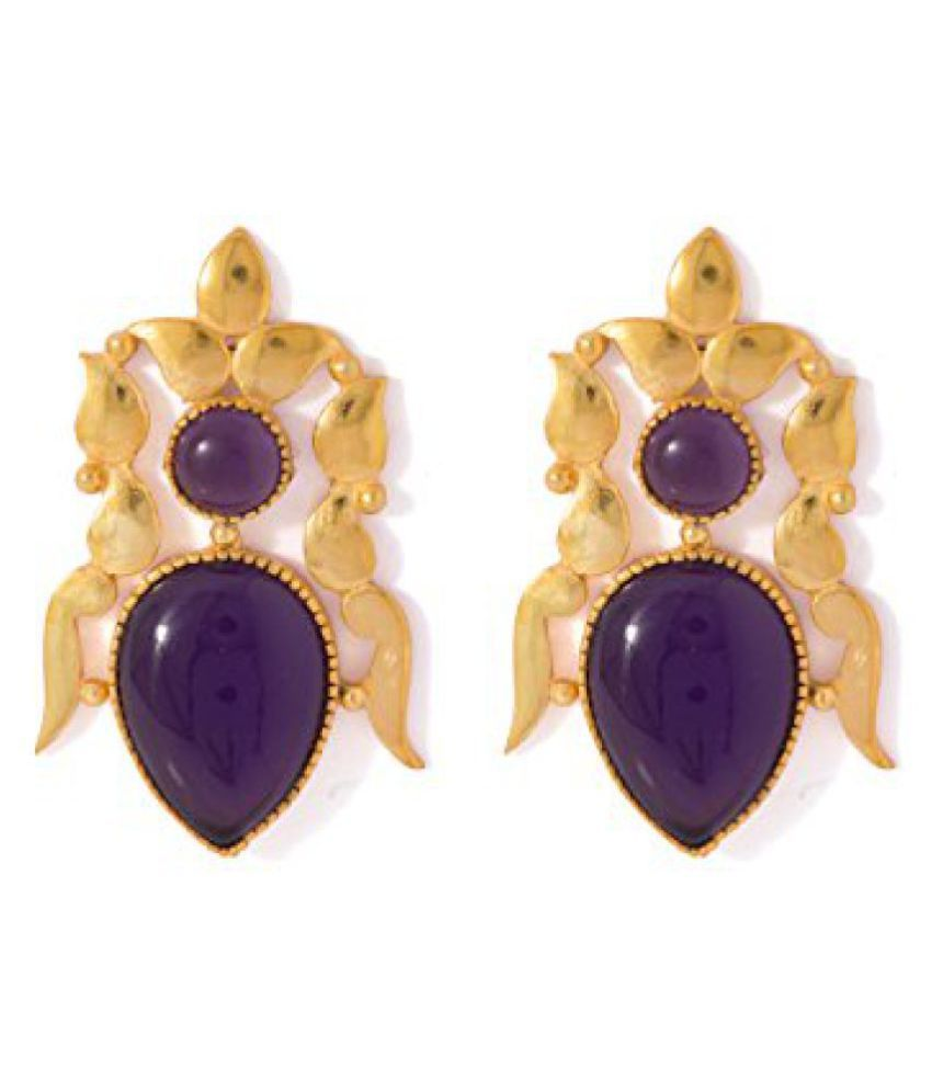 Voylla Golden Dangler Earrings Studded With Purple Amethyst Stones