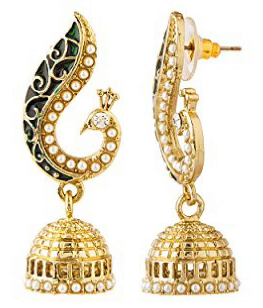 Voylla Peacock Inspired Pair Of Jhumki Earrings With Green Enamel