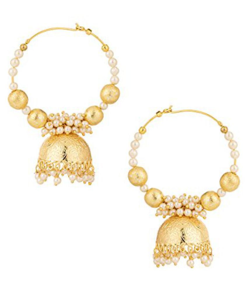 Voylla White Pearls Studded Pair Of Gold Plated Hoop Earrings