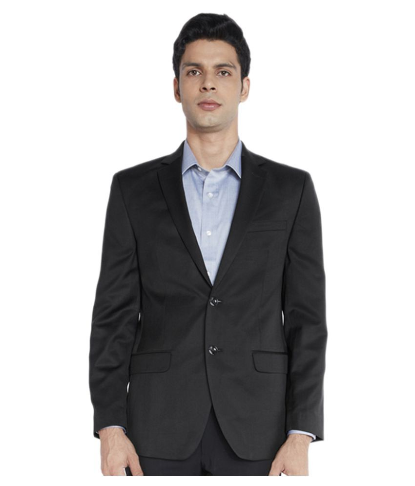 Vastra Innovation Black Solid Casual Blazers