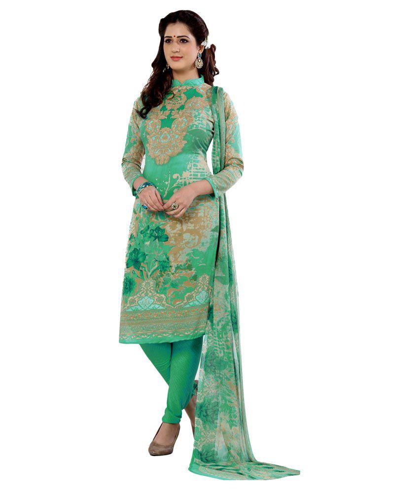 Salwar Studio Green and Grey Synthetic Dress Material