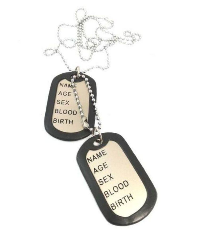 Ammvi Creations Ammvi Matt Finished ACTAG10002 Engraved Silver Dog Tag Pendant