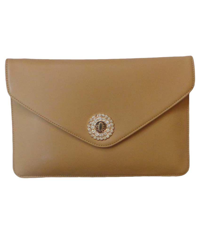 Vardhini Gold Faux Leather Envelope