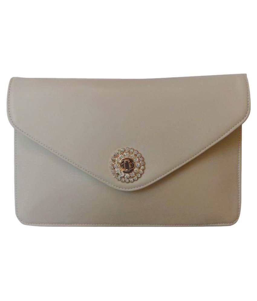 Vardhini Beige Faux Leather Envelope