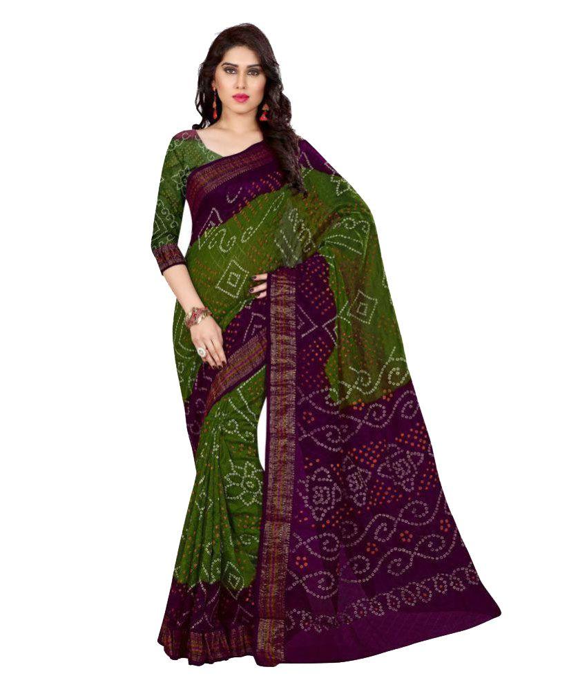 Fabliva Green Cotton Silk Saree