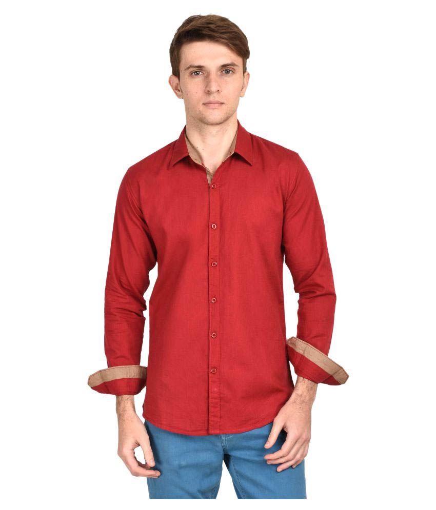 Kayadeals Maroon Casuals Slim Fit Shirt