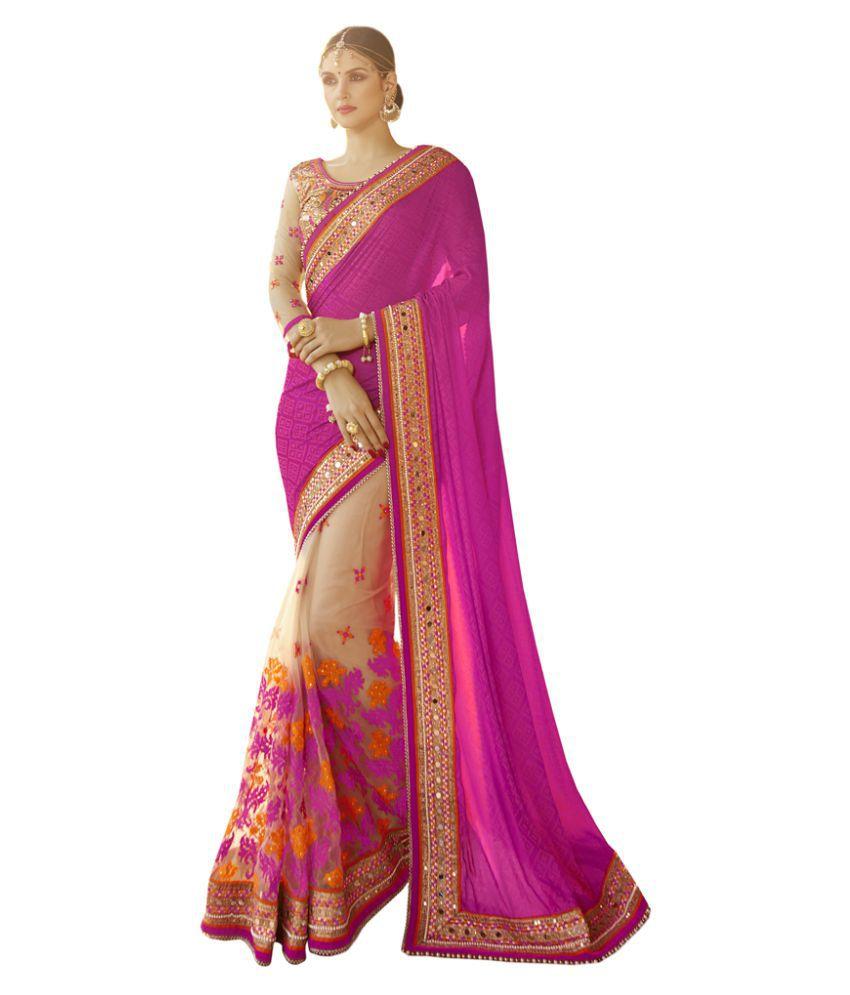 Swaron Pink and Beige Satin Saree