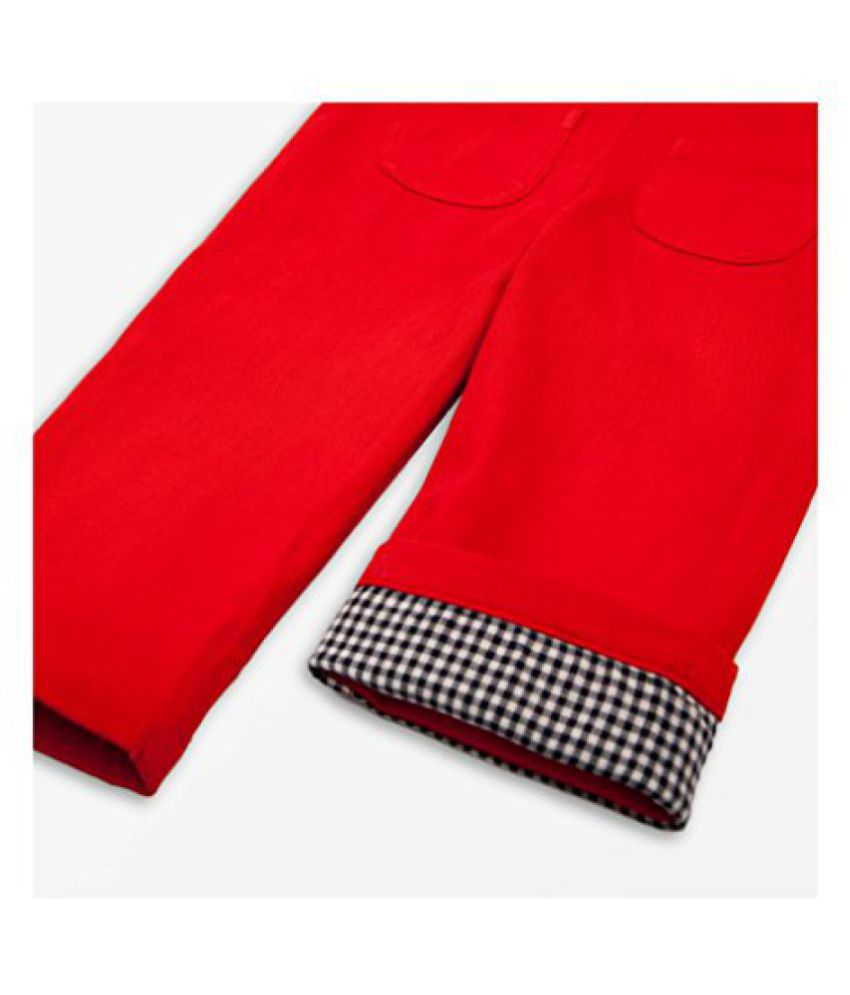 0aa3cbbd830 Olele Red Cotton Blend Dungarees - Designed in USA For 2-6 years Kids