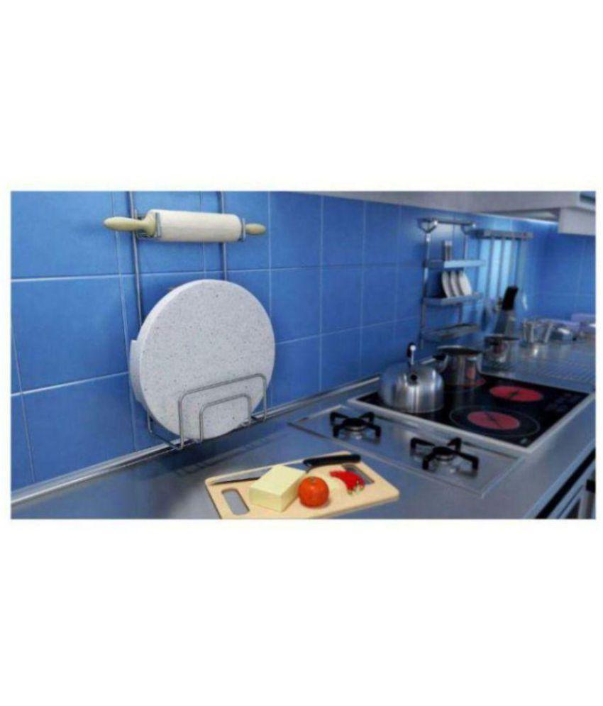 Kitchen Design Stainless Steel Chakla, Belan & Chimta (Rolling Pin) Holder