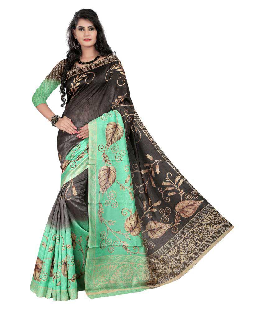 Laxmipadma Green Cotton Poly Saree