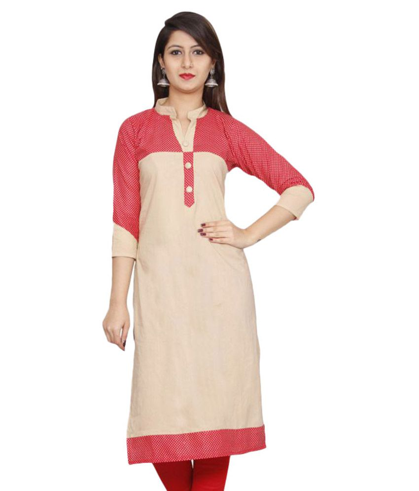 Overa4f Beige Cotton Straight Kurti