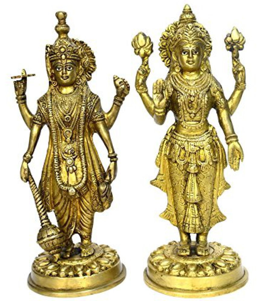Brass Hinduism Statue of God Vishnu & Laxmi Standing Pair in Fine Carving by Bharat Haat  BH00725