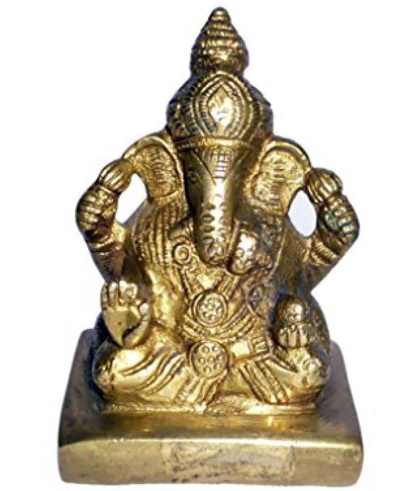 Brass Metal Brass Dagdu Ganesh Statue by Bharat Haat  BH01385